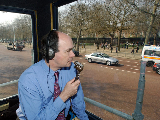 Nick Clarke commentating on the Queen Mother's funeral: 2002.